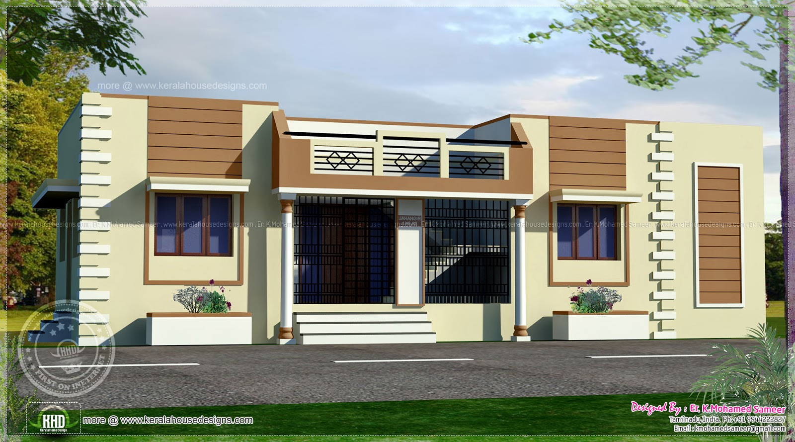 Amas32 Indian house front design photo